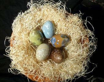Easterest, 5 easter eggs, crystal glaze, unique, 84-93 mm