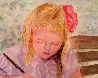 Little Girl Painting Print