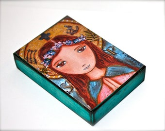 Saint Philomena - Giclee print mounted on Wood (5 x 7 inches) Folk Art  by FLOR LARIOS