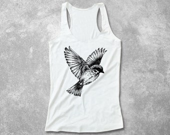 Bird Casual Fitted Tank Top Racerback Soft & Comfy Summer Print Screen Print hand made screenprint shirt - XS S M L