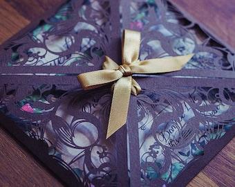 Alice in Wonderland Vintage Invitation suite | Enchanted Laser cut design for a magical wedding
