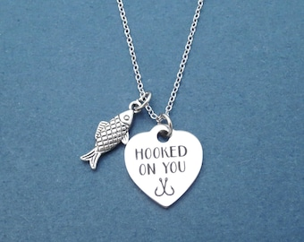 HOOKED ON YOU, Fish, Silver, Necklace, Heart, Love, Jewelry, Birthday, Lovers, Best friends, Valentine, Gift, Jewelry