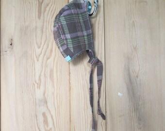 Sweet heather linen baby bonnet