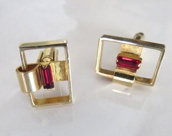 Vintage boutons de manchette Hickok, rubis rouge et doré, ouvrir des Rectangles avec des boutons de manchette couleur grenat Pierre