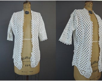Vintage Embroidered Lattice Jacket Edwardian Whites 1900s Antique Lace Trim, 34 bust
