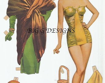 Five pages vintage paper doll and clothes outfits digital download printable instant image clip art