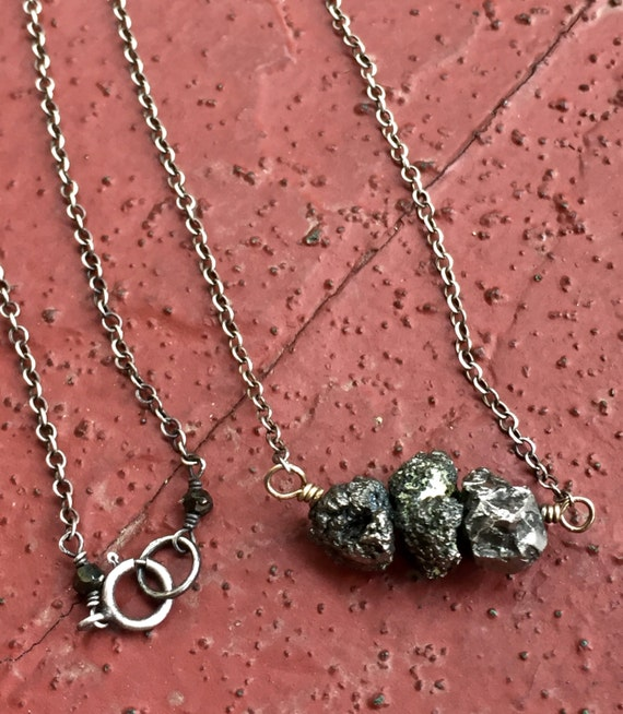 Raw Pyrite Necklace, Necklace for Vitality and Protection,  Pyrite metallic necklace, Minimalist, Fools Gold, Boho Chic Mixed Metal