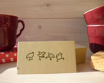 4 Chicks In A Row Olive Wood Stamp