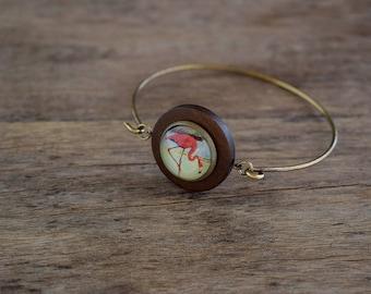 Flamingo bracelet Pink flamingo bangle, Flamingo jewelry Bird bracelet, Beach bracelet Summer bangle Tropical bangle Florida bracelet TJ 070