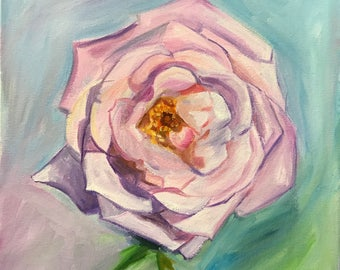 "Original Oil Painting Ready to Hang On Canvas ""Blue Girl Rose"""
