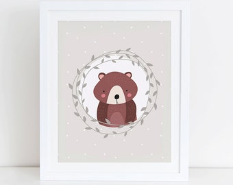 Bear Art Print, Bear Printable, Woodland Nursery Art Print, Instant Download, Digital Art Print, Woodland Animals Nursery Wall Decor
