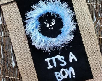 It's A Boy - Hand Embroidery Hoop Art Wall Hanging: Decoration, Gift
