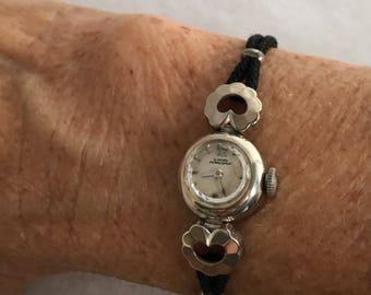14K White Gold  Girard Perregaux Ladies 1950's Wrist Watch Serviced Black Rope Band