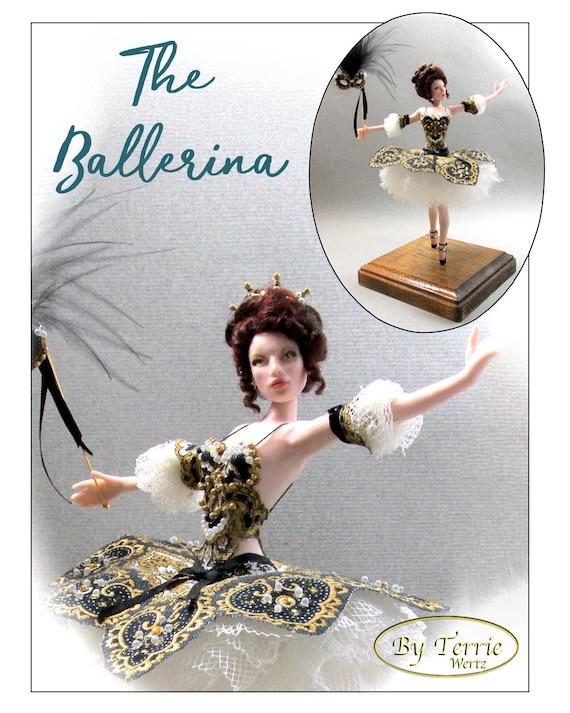 THE BALLERINA OOAK Porcelain Miniature Doll 1:12 Scale Dollhouse Woman Doll 1 Inch 12th Scale Swan Lake Masked Princess Dana