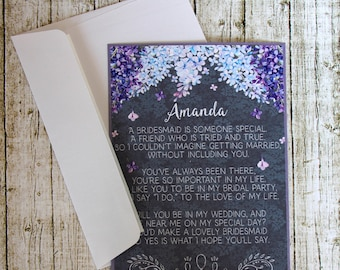 Will You Be My Maid Of Honor Invitation - Asking Maid Of Honor - Lilac Maid Of Honor Card - Ask Matron Of Honor - Be My Maid Of Honor