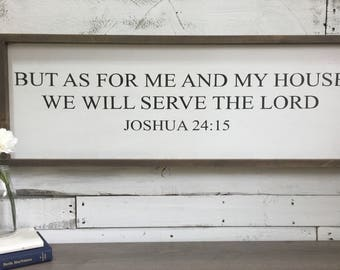 as for me and my house we will serve the lord| joshua 24:15| | modern farmhouse| wood sign| handmade| stencil| home decor| wall art