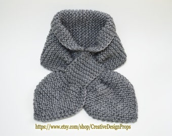 Knit Gray Ascot Scarf - Pull Through Keyhole, Stay Put, Popular Ascot Short Scarf, Top Trend, Christmas Gift, Winter wear, Men, Women,
