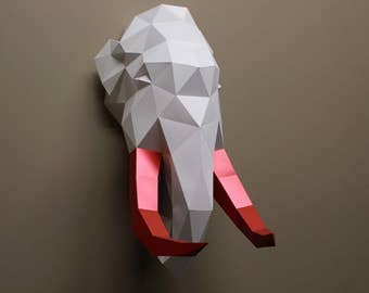 Clark the triceratops papercraft diy kit dinosaur tim the mammoth papercraft diy kit jurassic faux taxidermy wall decor low poly diy paper sculpture animal head paper trophy solutioingenieria Choice Image