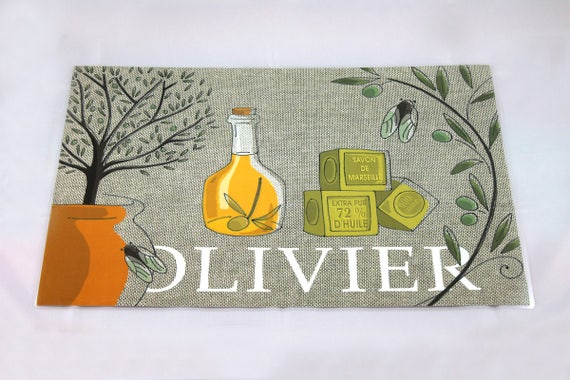 "Way linen placemat illustrated and plastified ""Olive"""
