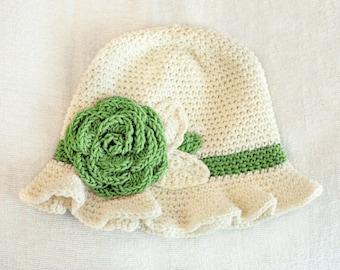 0 to 3m Green Summer Sun Hat Newborn Baby Gift Rose Flower Hat Cotton Ruffle Brim Baby Hat, Baby Girl Flapper Cloche 1920s Vintage Hat