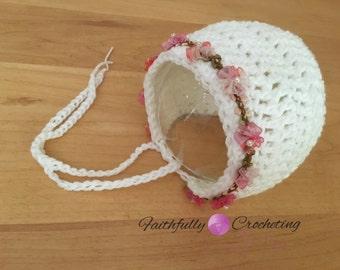 Newborn bonnet... Photography prop... Ready to ship... White bonnet