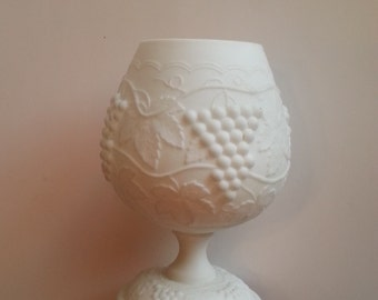 """White, Milk Glass, Grape & Leaf, Goblet, Vintage, collectible, 7"""" Tall"""