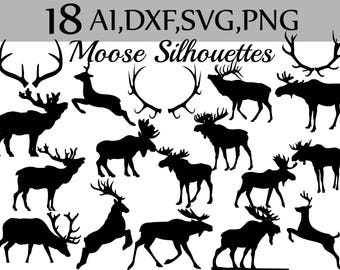 "SVG Moose clipart:""MOOSE SILHOUETTES"" Moose Svg,Antlers Silhouette,Cut Files,Moose Antlers,Vector Graphics,Antler Svg,Deer Silhouette"