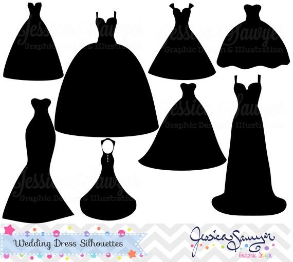 instant download wedding dress clipart silhouette clipart rh etsy com wedding dress clipart outline wedding dress clipart png