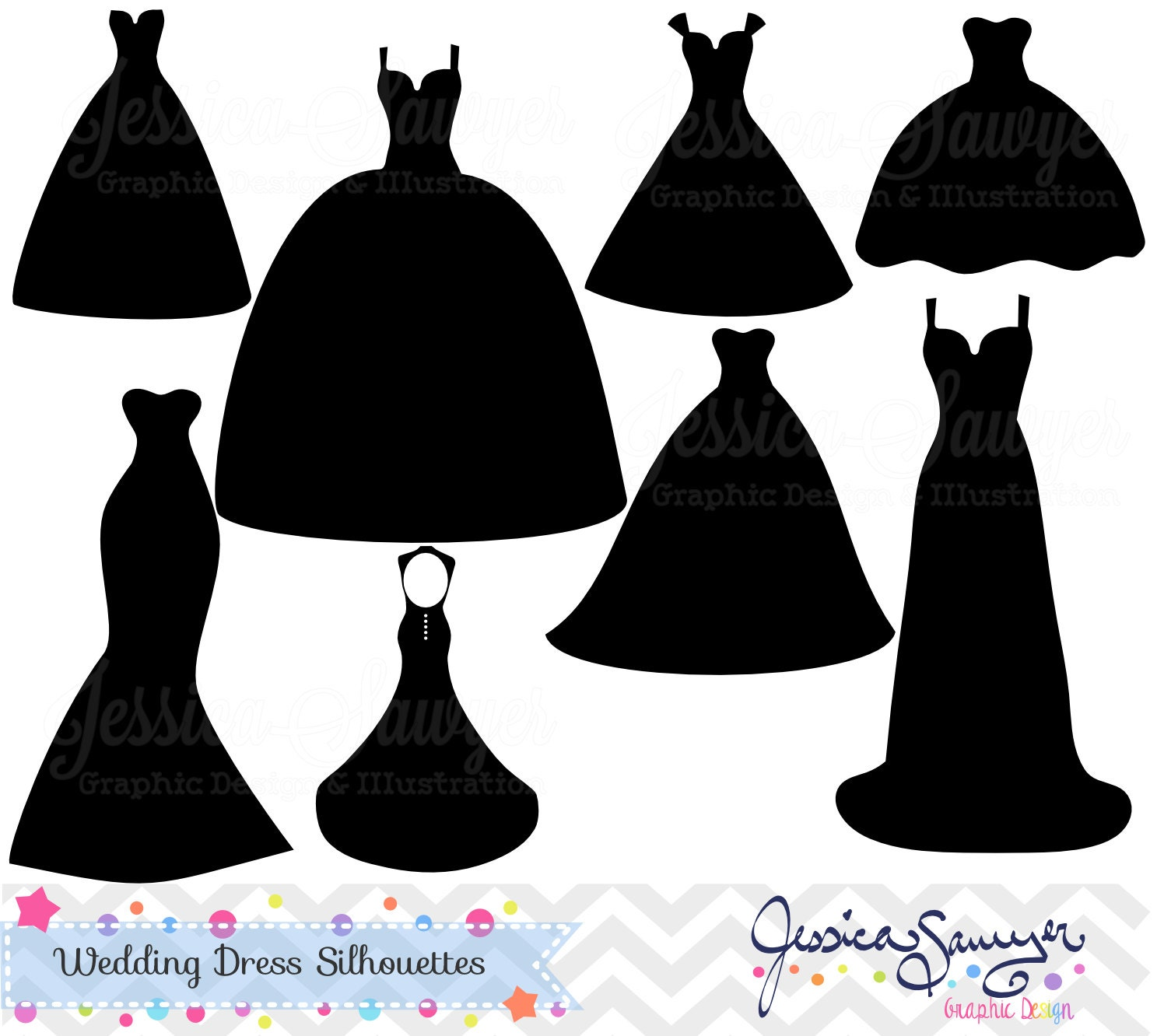 INSTANT DOWNLOAD wedding dress clipart silhouette clipart