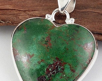 The Peru chrysocolla shape heart, chrysocolla, natural stone pendant, self confidence, stones, minerals AJE2.3 care jewelry