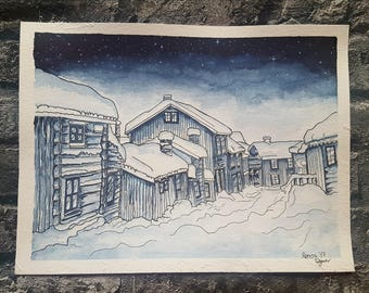 Handmade Aquarelle, no print, snowy villageview in Norway Roros