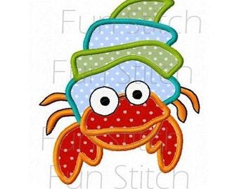 hermit crab applique machine embroidery design pattern