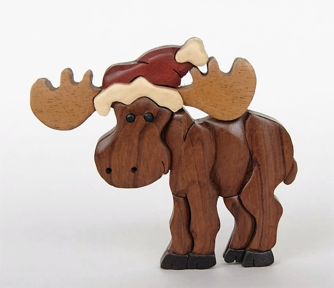 Moose intarsia wooden ornament magnet christmas santa hat