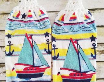 Crochet  Cotton Top Kitchen Hand Towels Hanging Kitchen towels, Sailboat