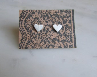 Sterling Silver Heart Studs | Earrings | Minimal * Free Shipping in US