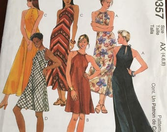 McCalls Easy Pattern #9357 Petite Halter Dress Sz 4, 6, and 8