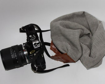 Strap camera strap camera scarf for camera, gift, made in france, nikon, canon, houndstooth