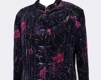 70's Vintage Black & Purple Velvet Jacket - Asian Style, Boho, Hippie, Japanese Festival Coat, MEDIUM