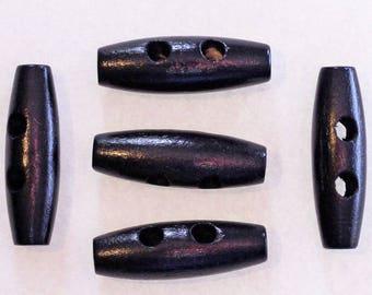 10 x button logs wooden black 35mm: 2337