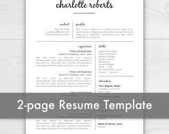 2 Page Creative Resume Template | Resume for Pages | Resume Template Instant Download | CV Template | Resume Template Word | Resume Pages