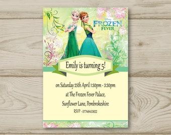 Disney Frozen Anna, Elsa Birthday Party Invitations Personalised