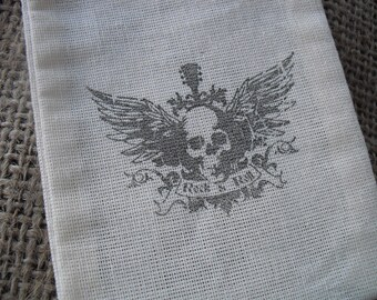 Favor Bags - SET OF 10 3x5 Rock n' Roll  Muslin Favor Bags Gift Bags or Candy Bags - Item 1274
