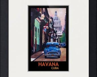 Cuban Oldtimer Street Scene in Havana Cuba with Buena Vista Feeling Poster Version 1 - Limited Edition Fine Art Print