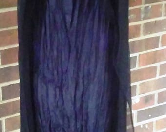 Black Silk Chiffon Sheer Open Overdress