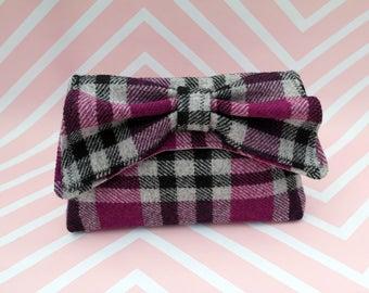 Katharine - Pink and Grey Check Tartan Harris Tweed Clutch Bag - evening purse - bow - formal - handmade