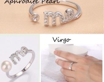 Zircon sterling silver ring setting, adjustable ring mounting,twelve constellations, Virgo,Libra,Scorpio,Sagittarius,gift