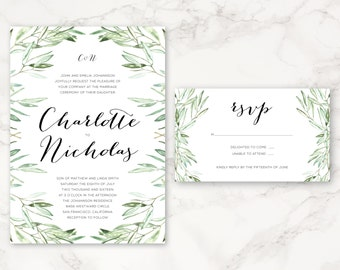 Printable Wedding Invitation - Watercolor Olive Branches - Greenery - DIY Printing - Nature