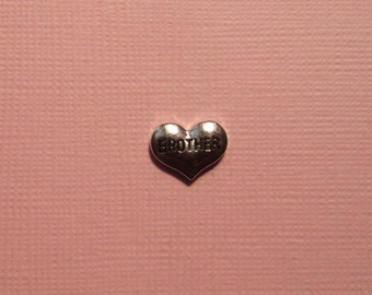 Brother Heart Charm - Memory Lockets - Fits 25 and 30mm Floating Memory Lockets
