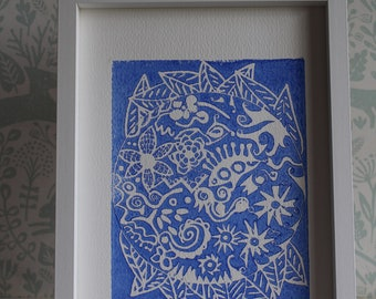 Lino Print -Limited Edition - A4 Linocut -Titled Twylight Sunset -relief print - linoleum print on acid free paper.