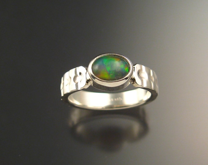 Opal Ring Sterling Silver heavy stamped pattern ring made to order in your size Natural Ethiopian Opal